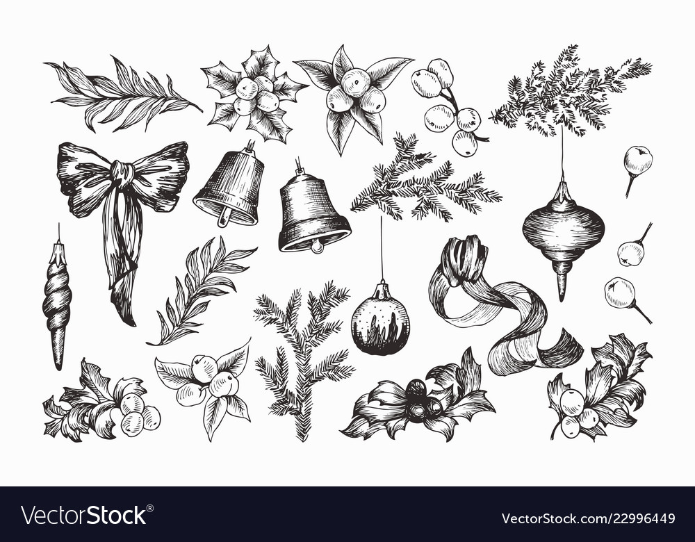 Set of isolated hand drawn monochrome christmas