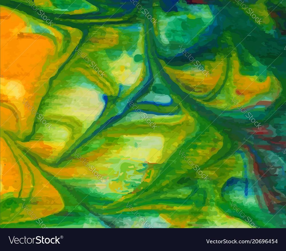 Abstract bright green yellow watercolor vector image