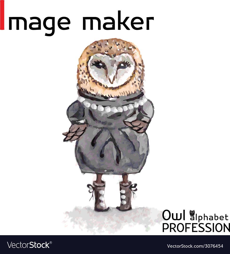 Alphabet professions Owl Letter I - Image maker vector image