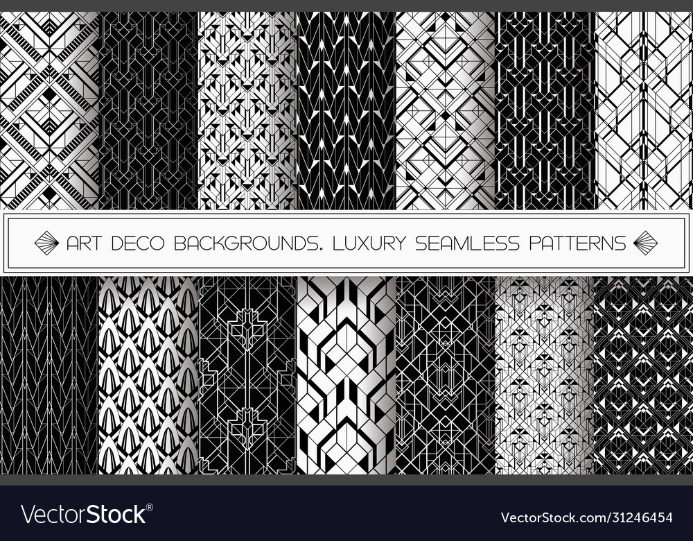 Art deco patterns set black white