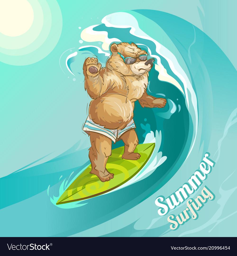 Cartoon bear surfing riding wave