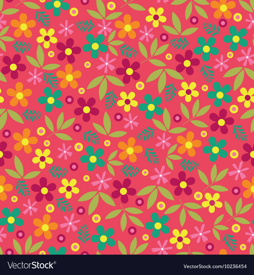 Colorful flowers seamless pattern background