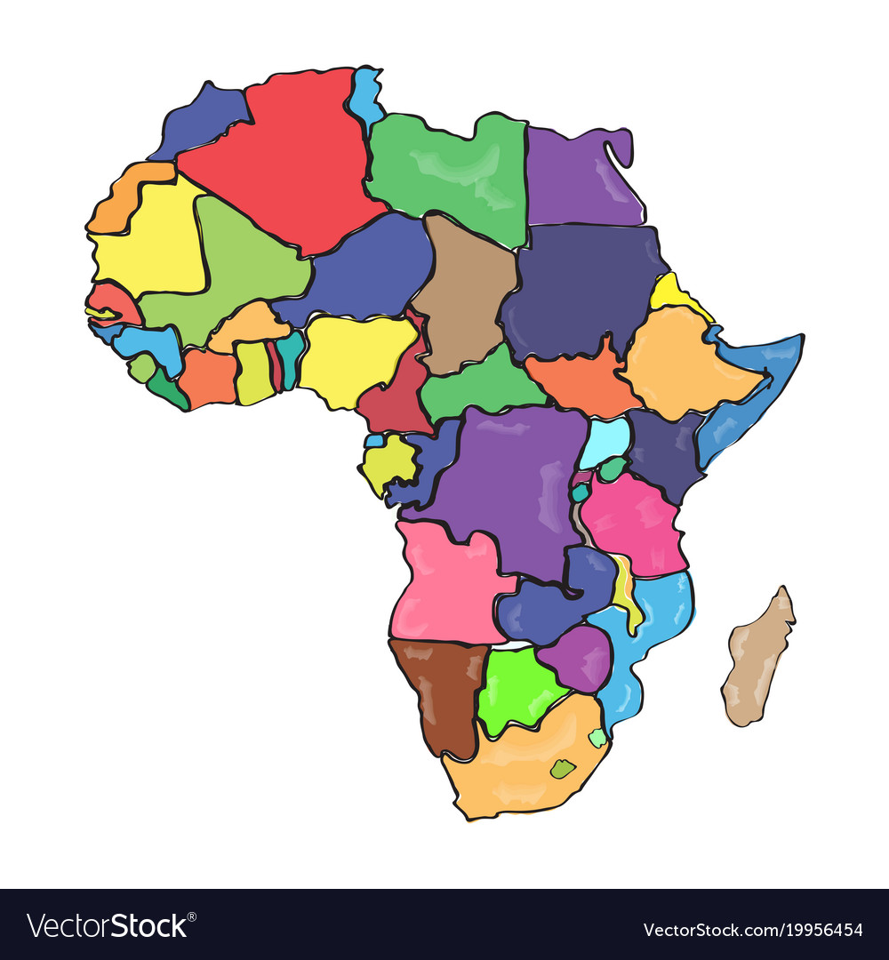 Africa Map Drawing Comic drawing a political map africa Royalty Free Vector