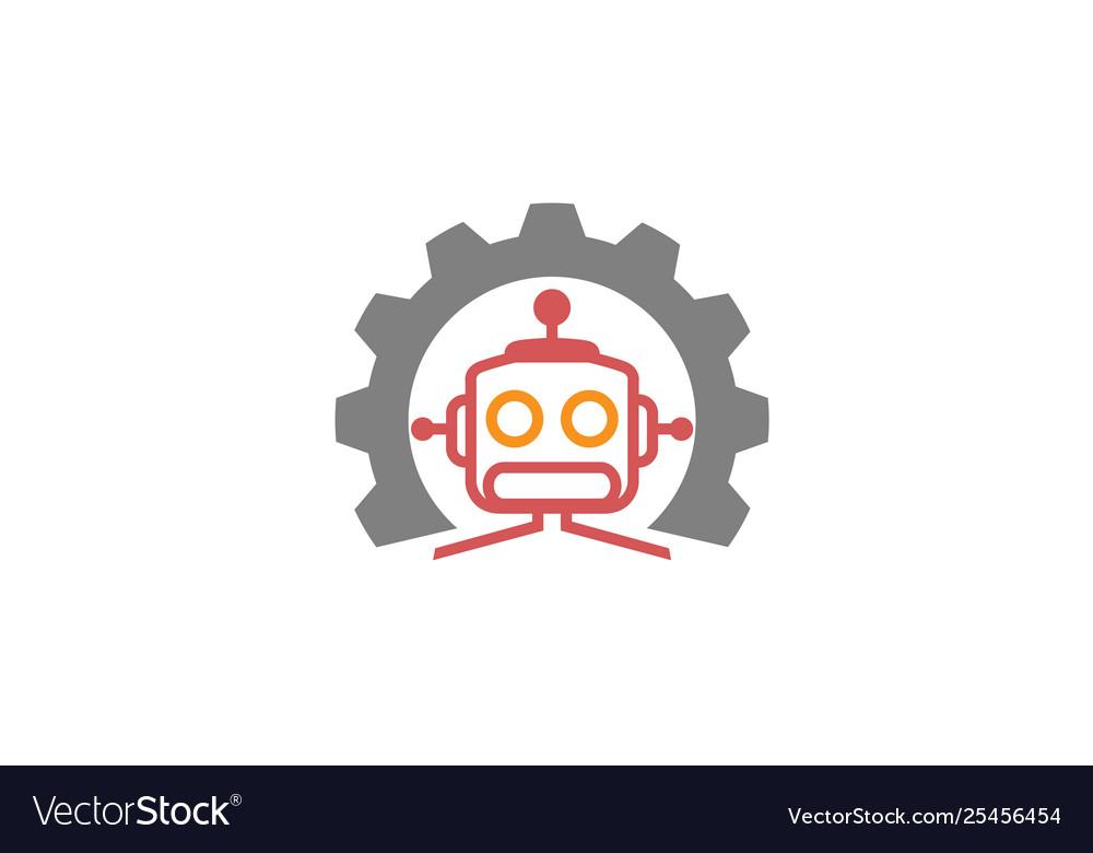 Creative gear robot logo design