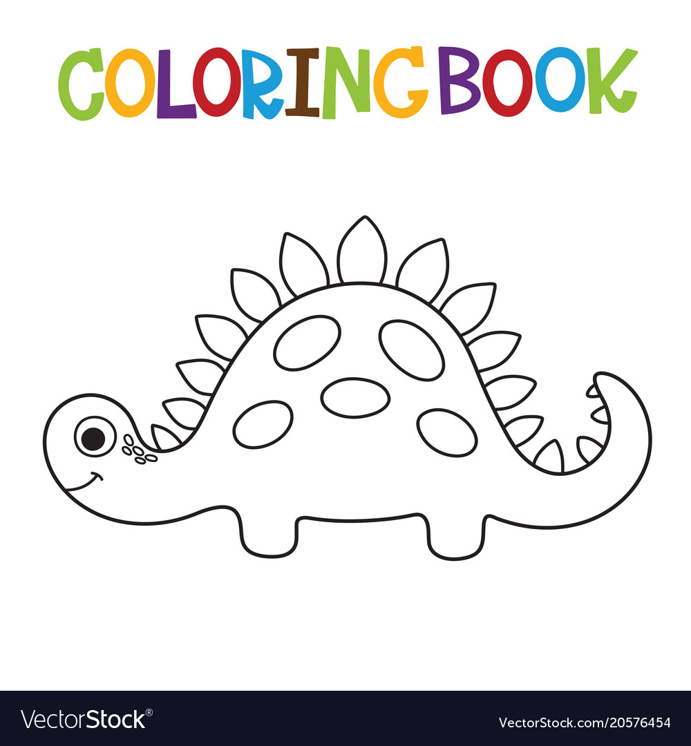 Cute dino coloring book Royalty Free Vector Image