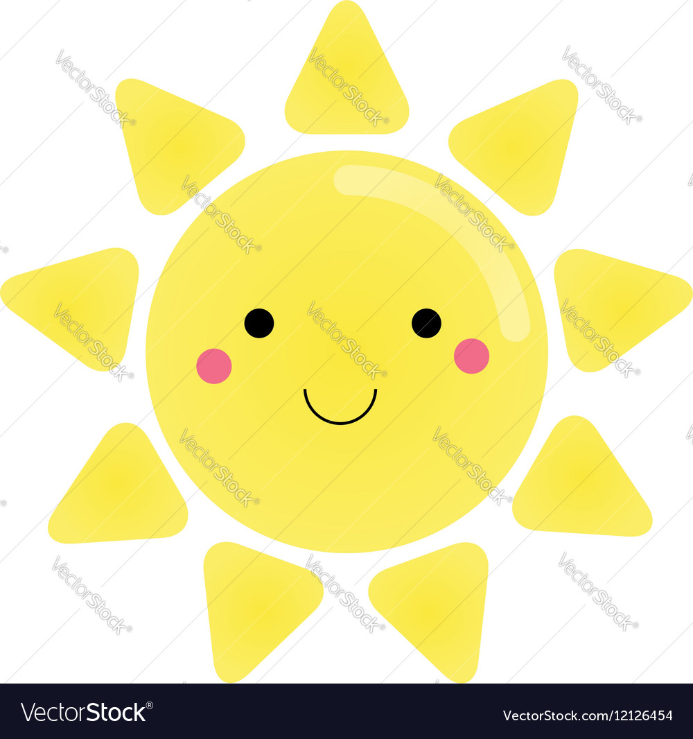 Cute kawaii sun character for