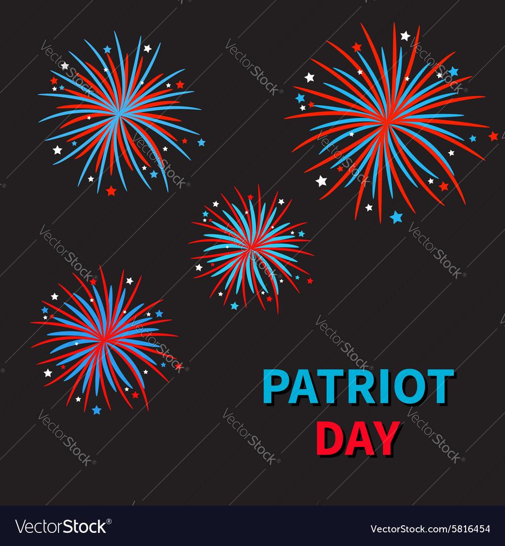 Fireworks on black sky blue text Patriot day