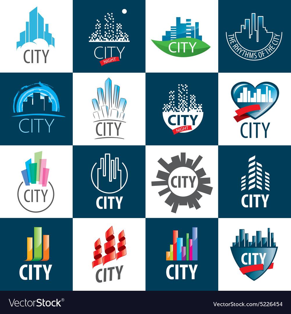 Large set of logos city