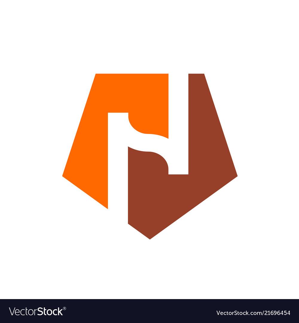 Logo n alphabet n and orange pentagon shape logo