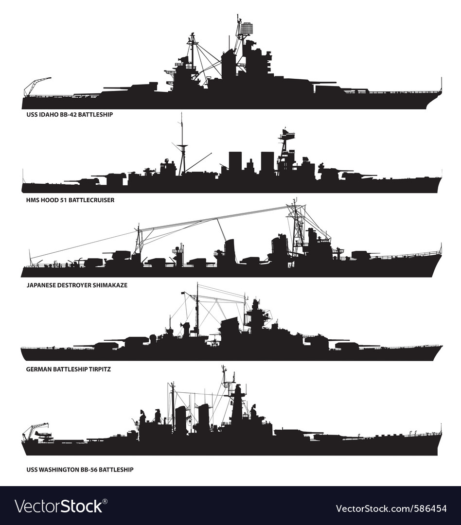 Naval warship silhouettes