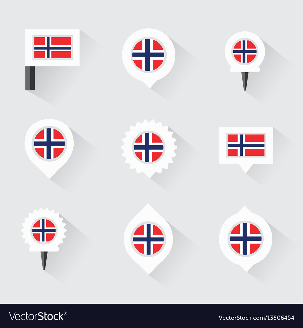 Norway flag and pins for infographic and map vector image