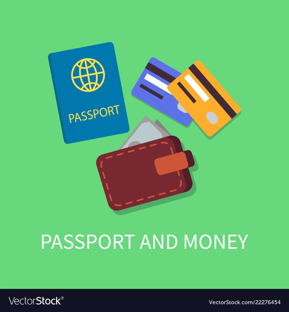 Passport and money poster