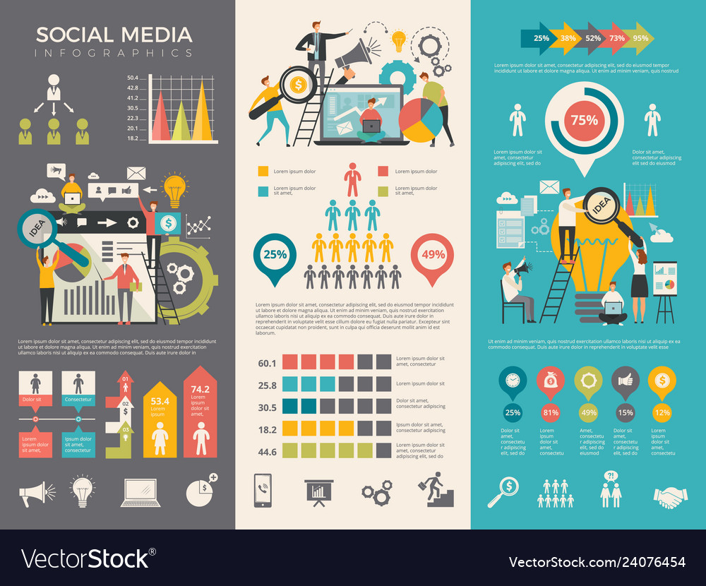 Social media infographic work people socializing