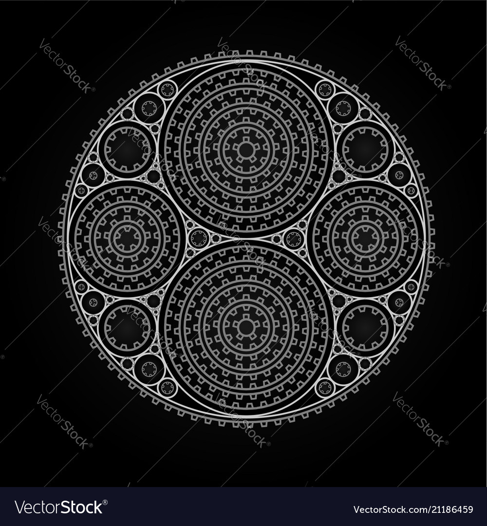 Abstract radial pattern made of gears