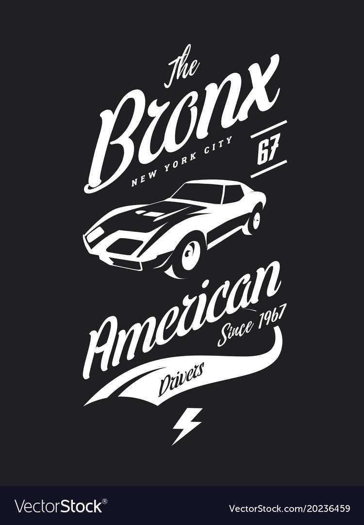 American Muscle Car Tee Shirt Logo Royalty Free Vector Image