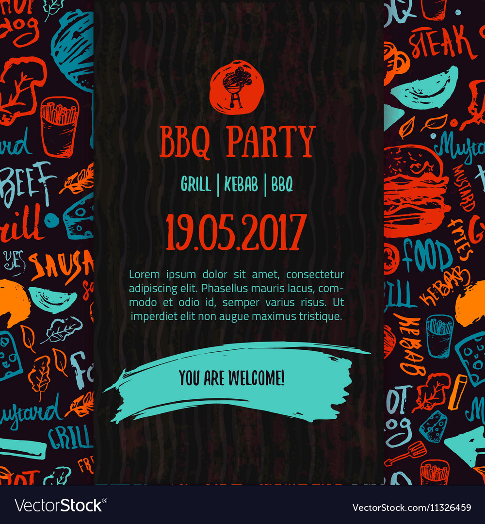 BBQ opening party announcement Doodle hand-drawn