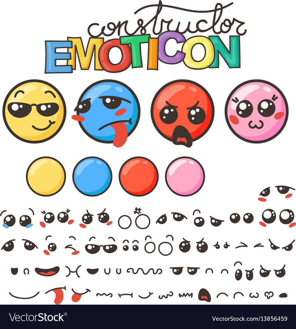 Constructor of cute lovely kawaii emoticon