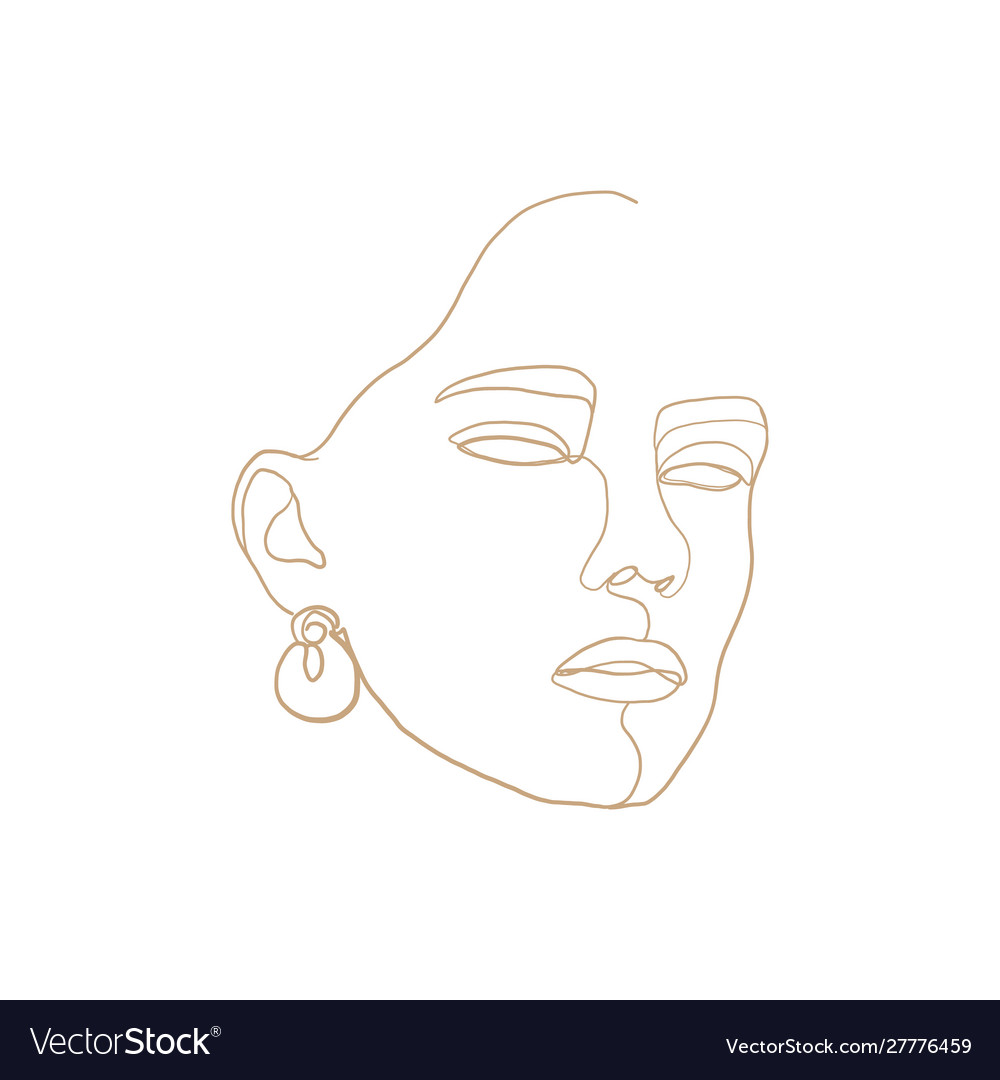 Continuous line drawing beauty woman face