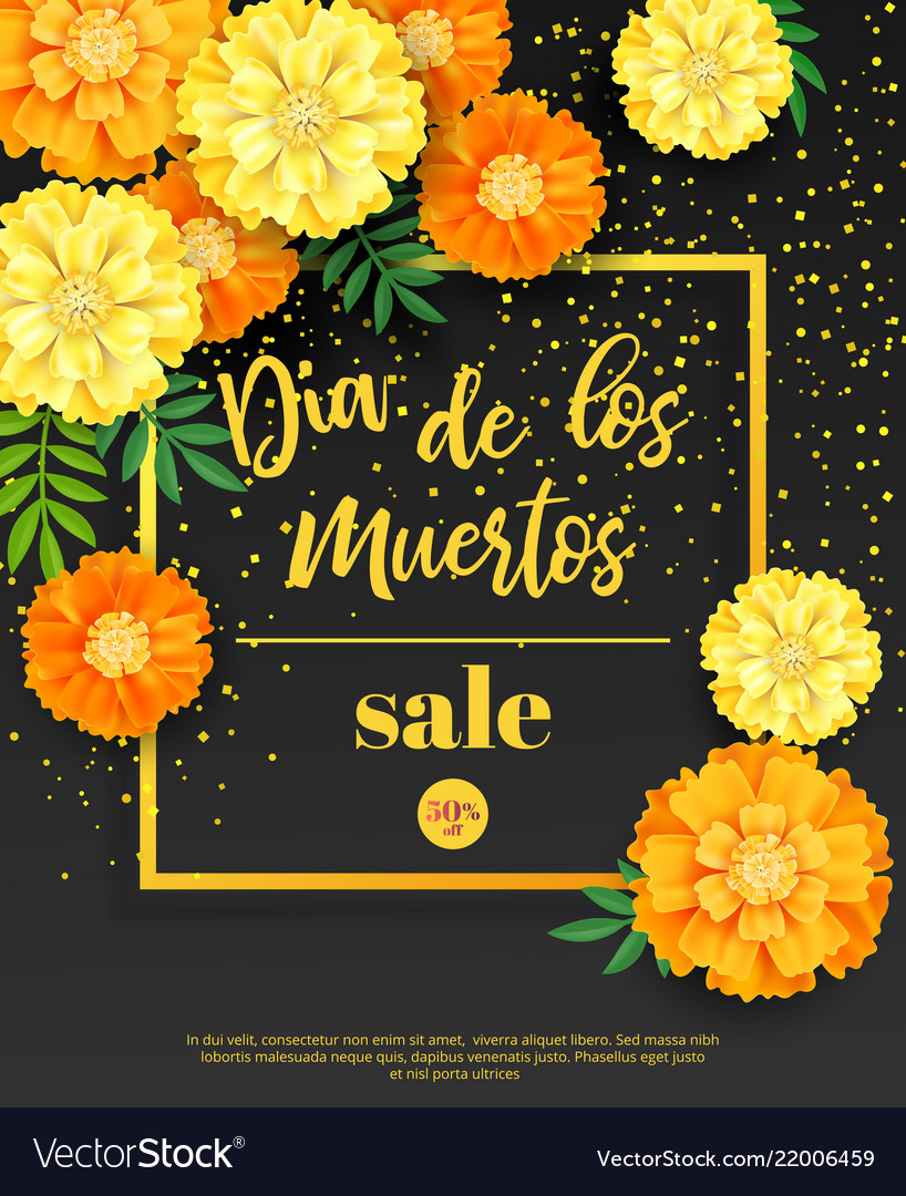 Festive flyer of day of the dead sale dark