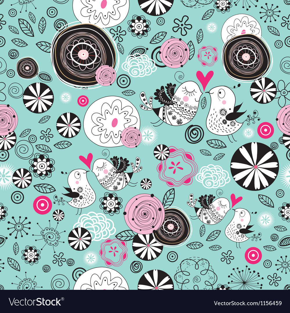 Floral texture with birds in love vector image