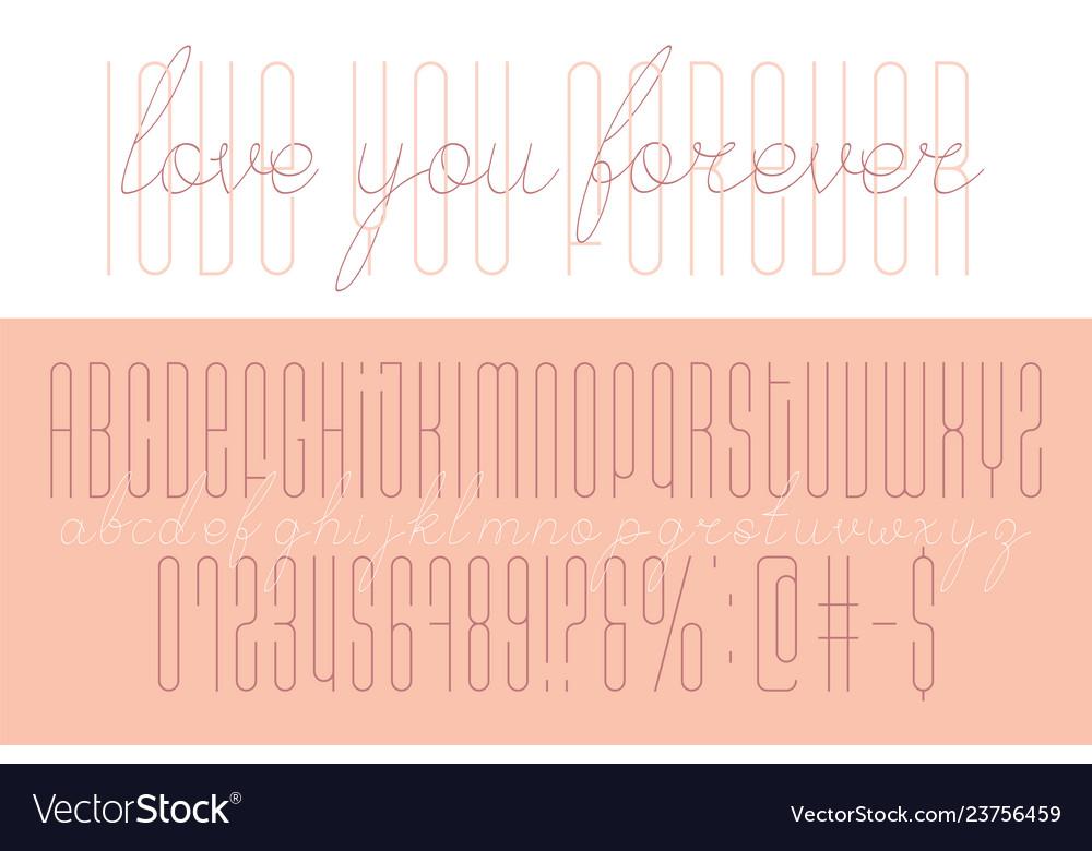 Handmade long geometric alphabet font in tow