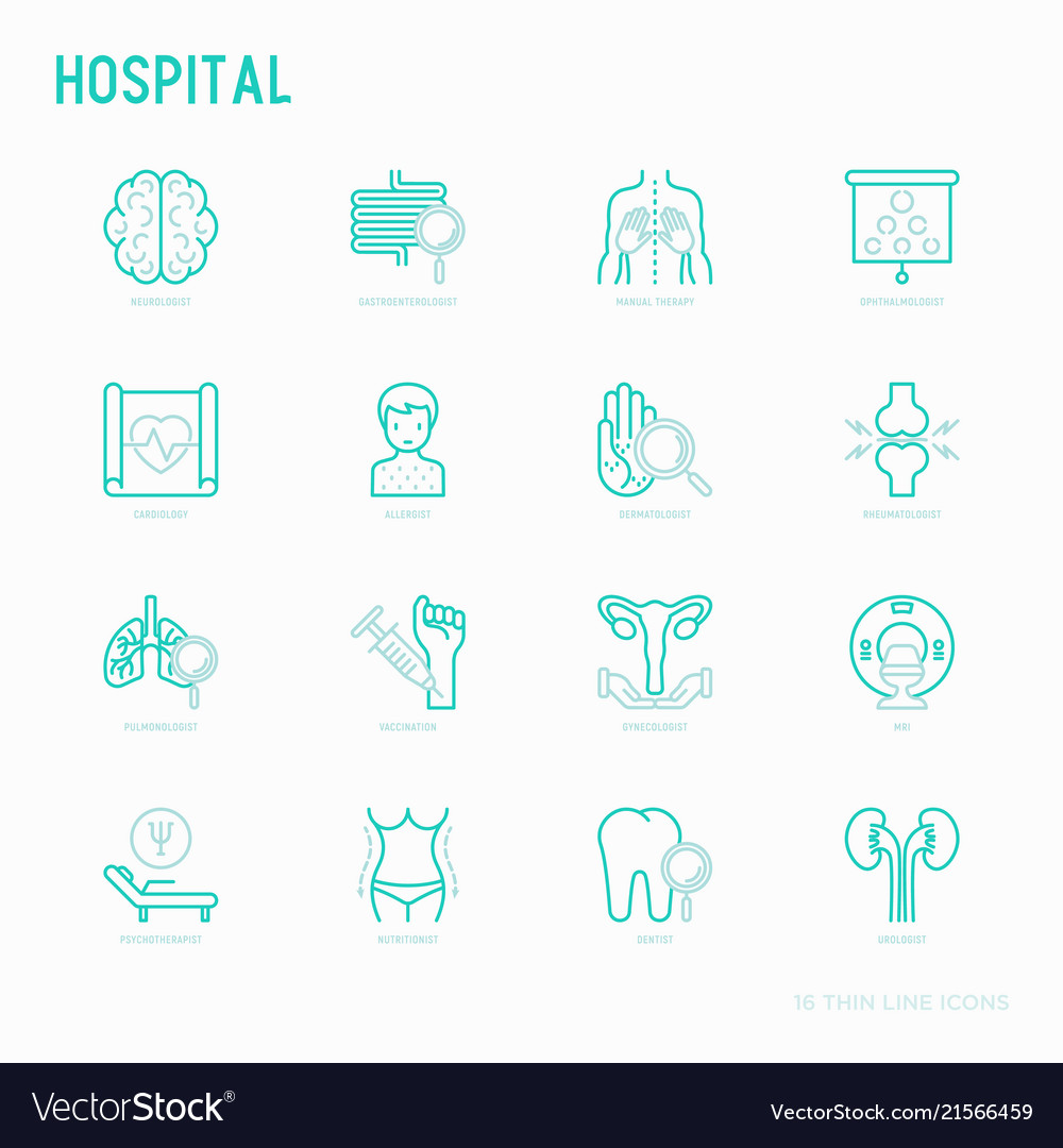 Hospital thin line icons for doctors notation
