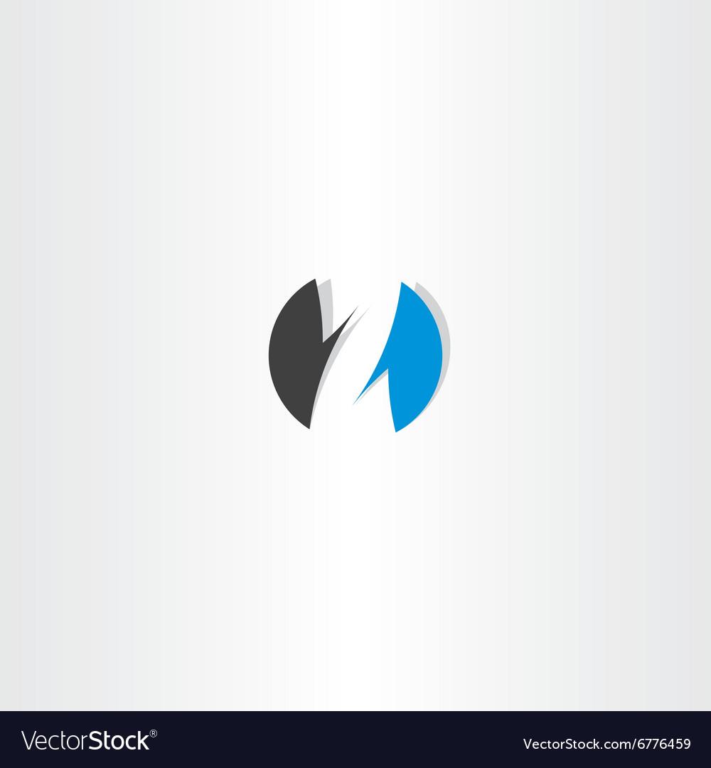 Letter z logo blue black circle sign icon vector image