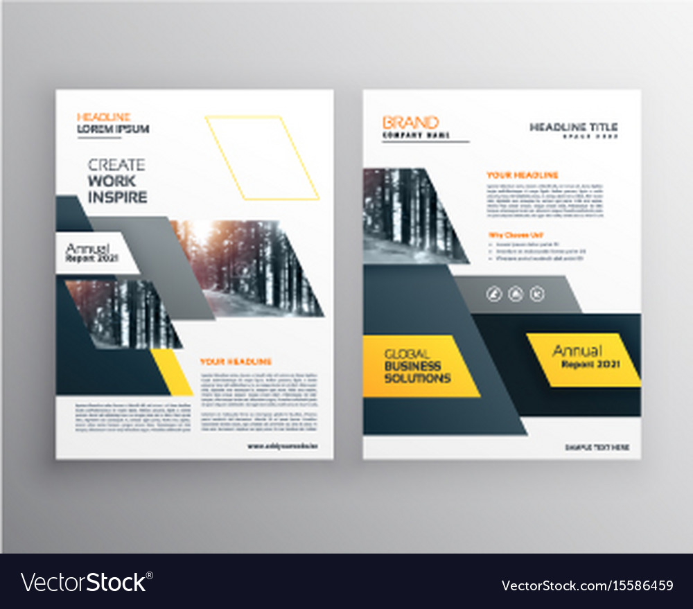 Modern yellow brochures set for business