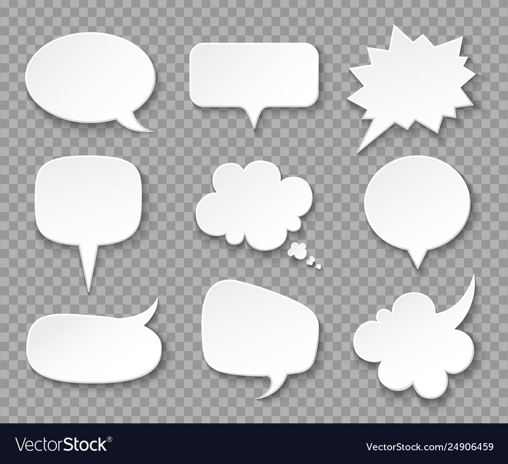 Paper speech bubbles white blank thought balloons