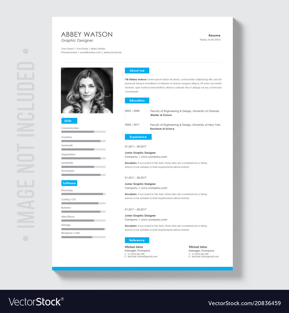 Professional Curriculum Vitae Template Royalty Free Vector