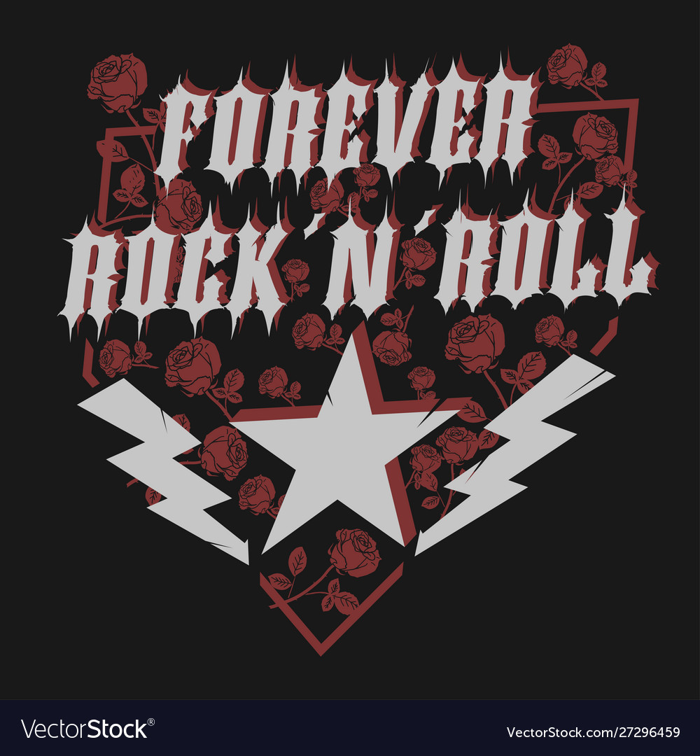 Rock star with rose lettering print for card