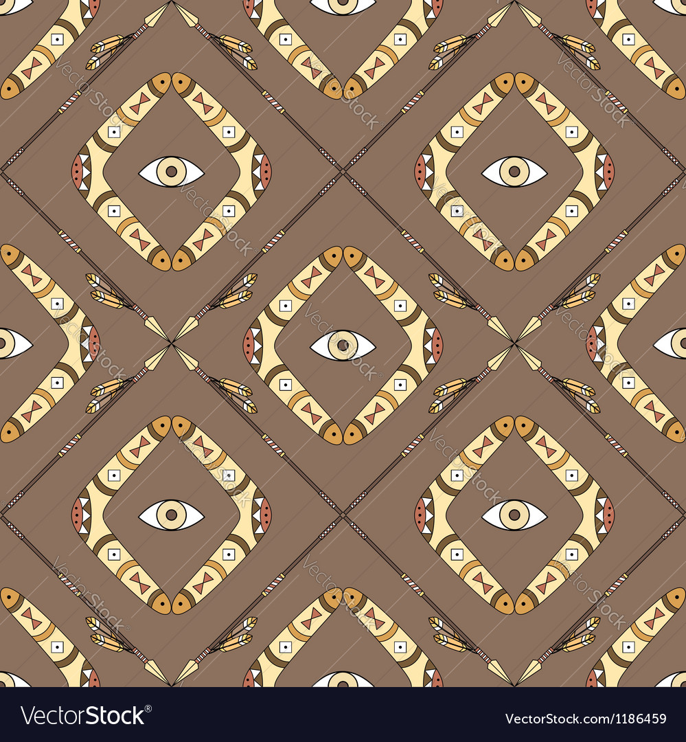 Seamless pattern with boomerangs and spears