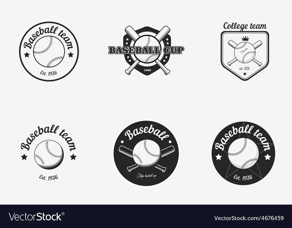 Set of vintage black and white baseball
