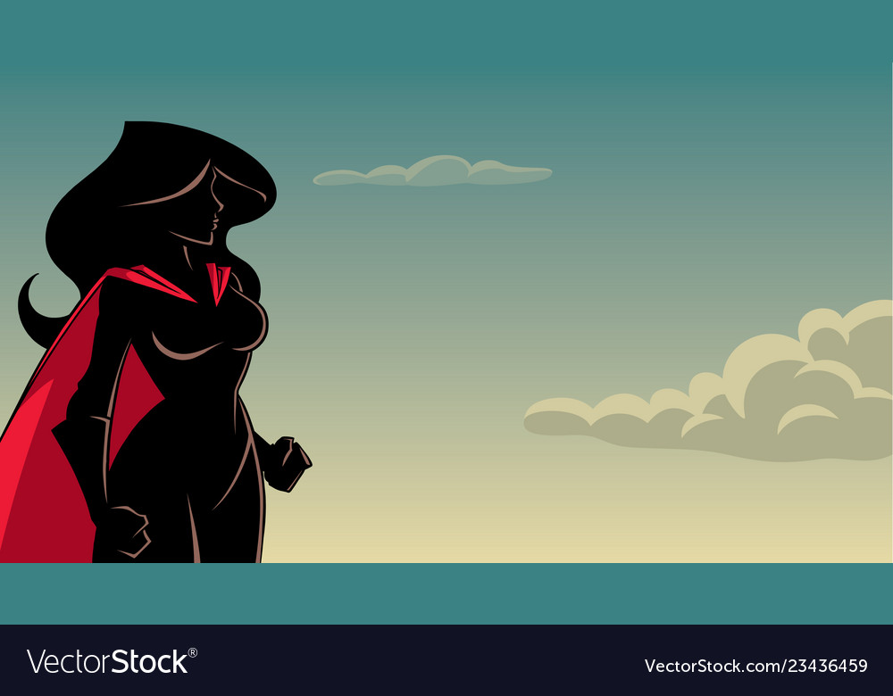 Superheroine side profile sky silhouette