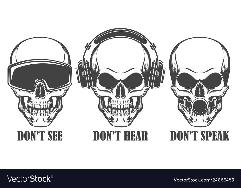 Three human skulls in headphones virtual reality