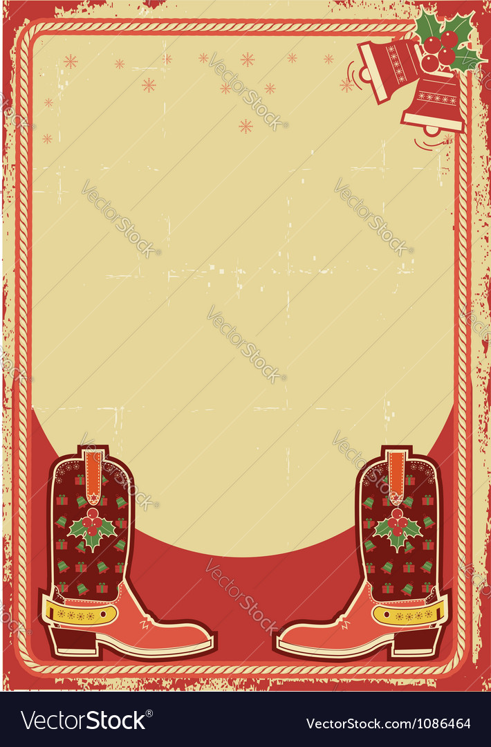 Abstract christmas card background with cowboy