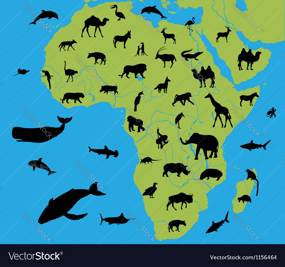 Animals on the map of Africa Royalty Free Vector Image