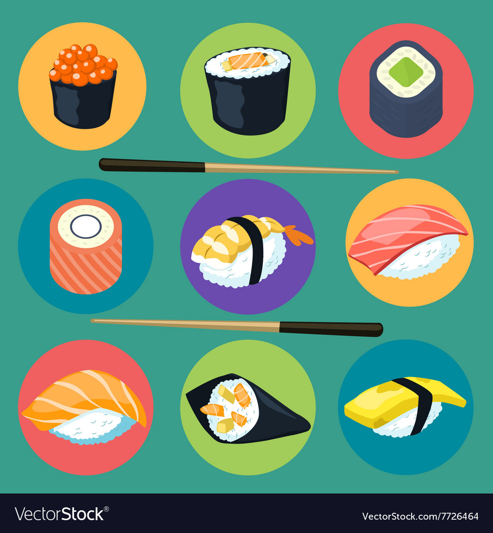 Asia food icon set with sushi rolls isolated