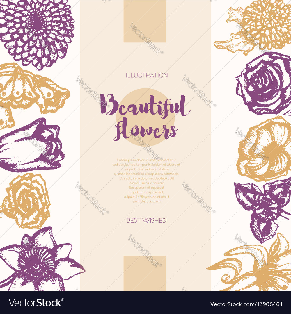 Beautiful Flowers Color Hand Drawn Composite Vector Image
