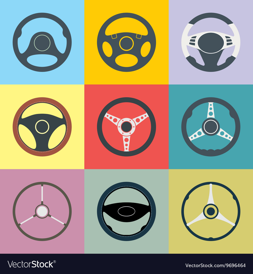 Car Steering Wheel Flat Icons Set