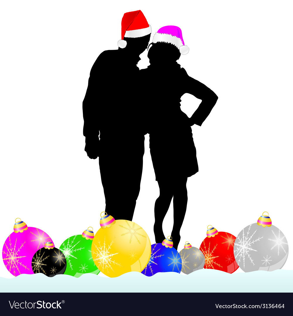 Couple with decoration ball vector image