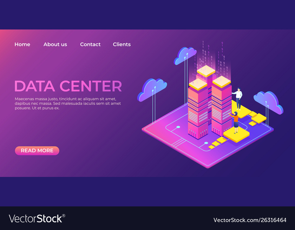 Data center landing page information database vector