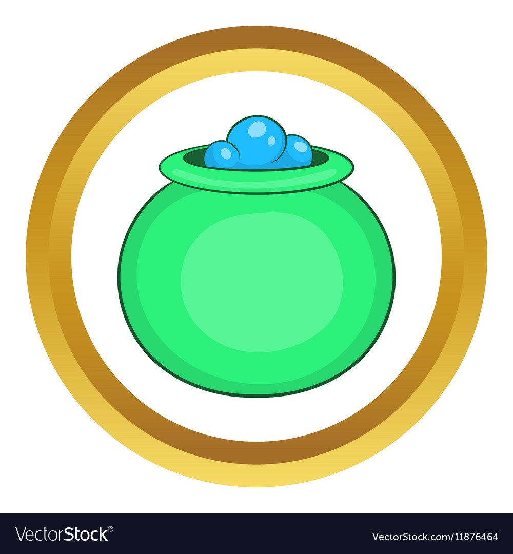Green witch cauldron with potion icon