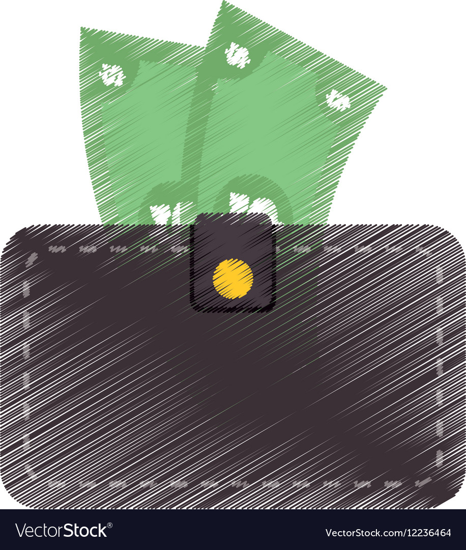 Hand draw wallet bill money cash dollar color