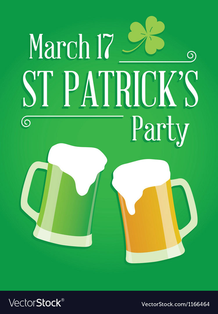 happy st patricks day party poster invite vector image