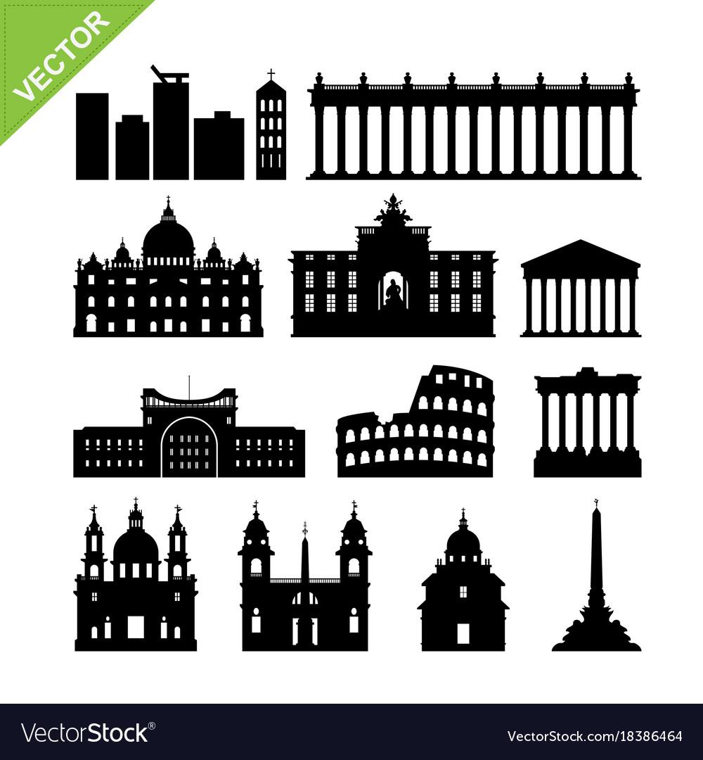 Rome city italy landmark and skyline silhouettes