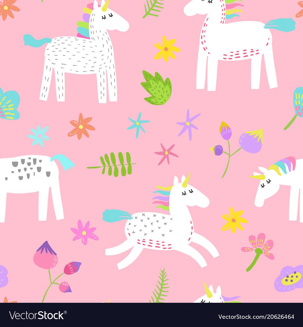Seamless pattern with magic unicorns