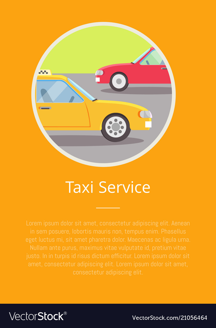 Taxi service sign and text isolated on yellow