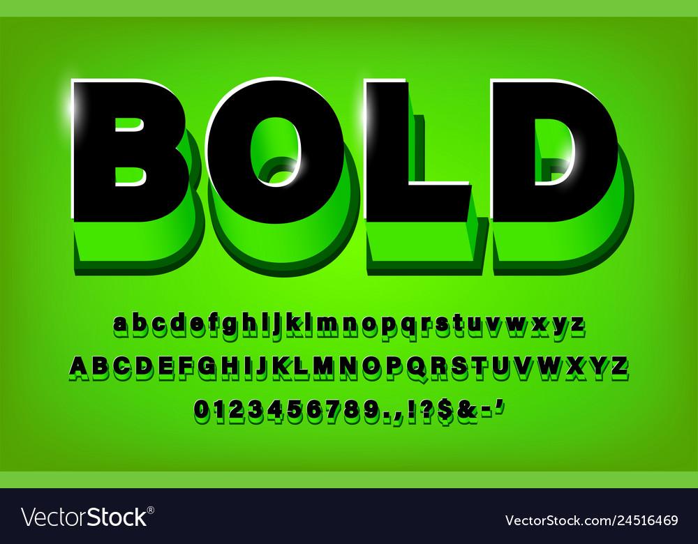 3d modern bold alphabet green and black