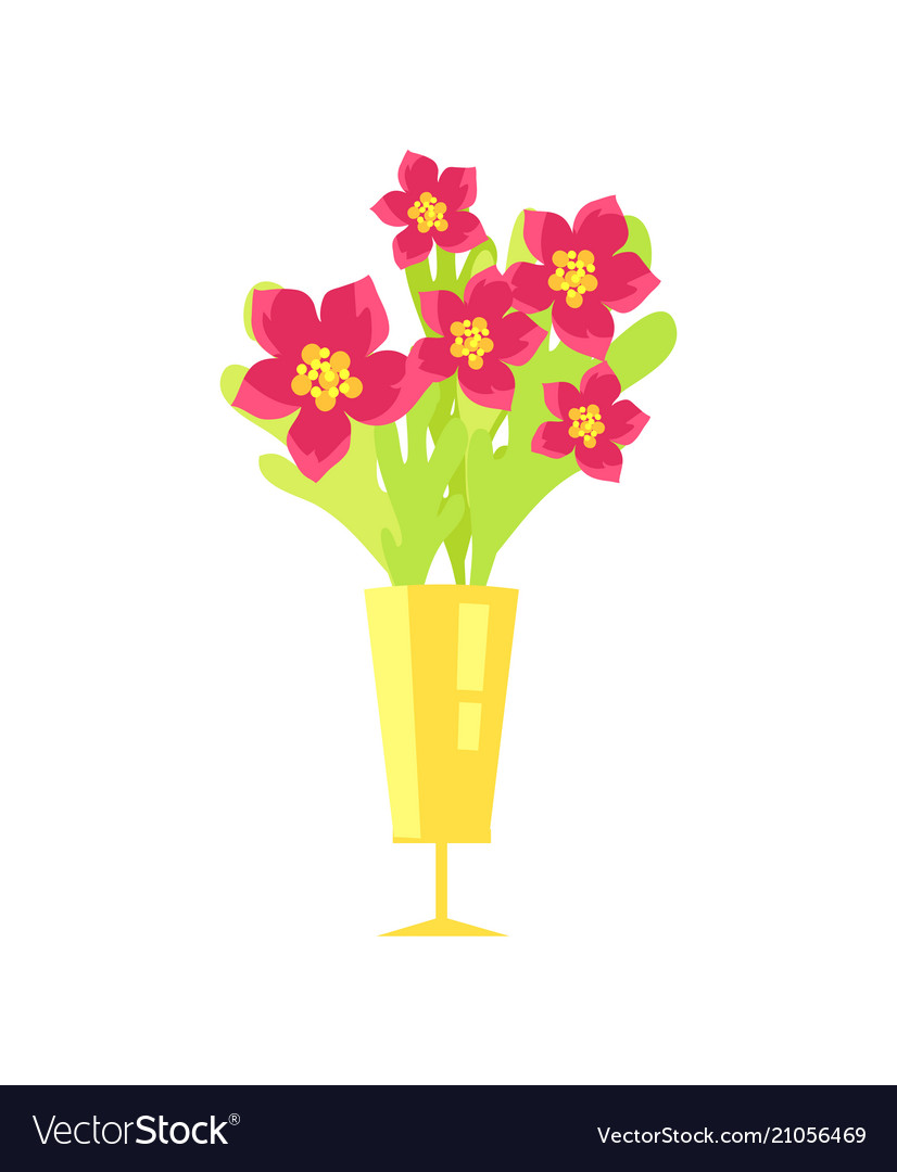 Beautiful flowers in vase icon